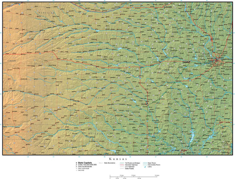Digital Kansas Terrain map in Adobe Illustrator vector format with Terrain KS-USA-942196