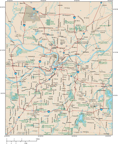 Kansas City Map Adobe Illustrator vector format KSC-XX-983790