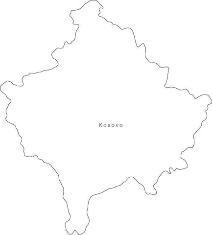 Digital Black & White Kosovo map in Adobe Illustrator EPS vector format