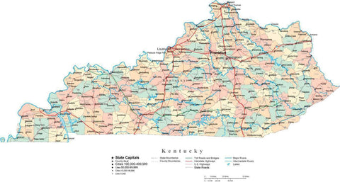 Kentucky State Map - Multi-Color Cut-Out Style - with Counties, Cities, County Seats, Major Roads, Rivers and Lakes