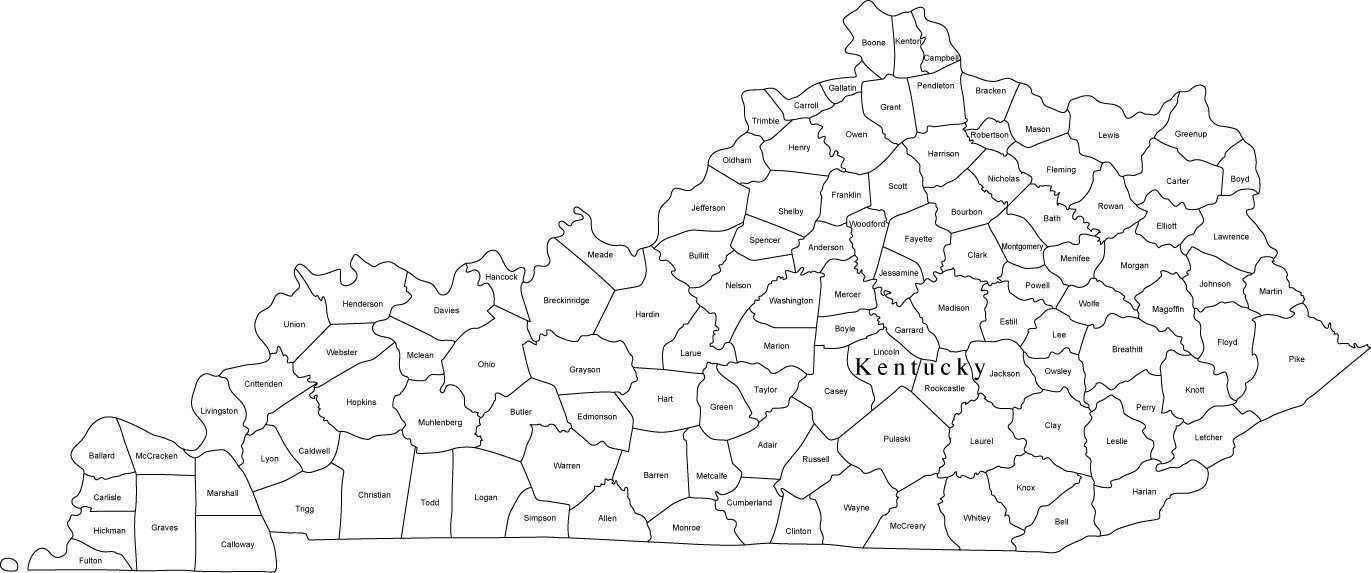 Digital KY Map with Counties - Black & White on map of georgia county, map of nj county, map of kentucky county, map of dc county, map of tx county, map of new york county, map of lexington county, map of cook county, map of oh county, map of ms county, map of pa county, map of np county, map of la county, map of vt county, map of indiana county, map of king county, map of state county, map of wy county, map of tn county, map of aa county,