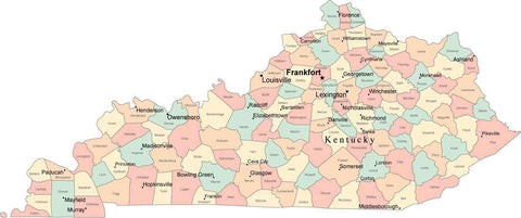 Multi Color Kentucky Map with Counties, Capitals, and Major Cities