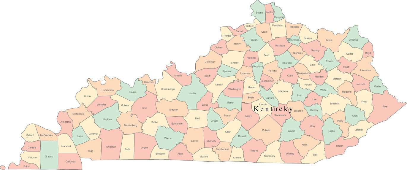 Digital KY Map with Counties & County Names - Multi-Color