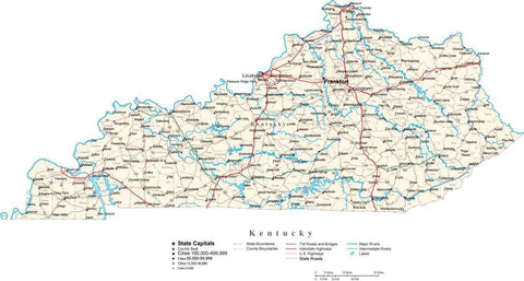 Kentucky Map - Cut Out Style - with Capital, County Boundaries, Cities, Roads, and Water Features