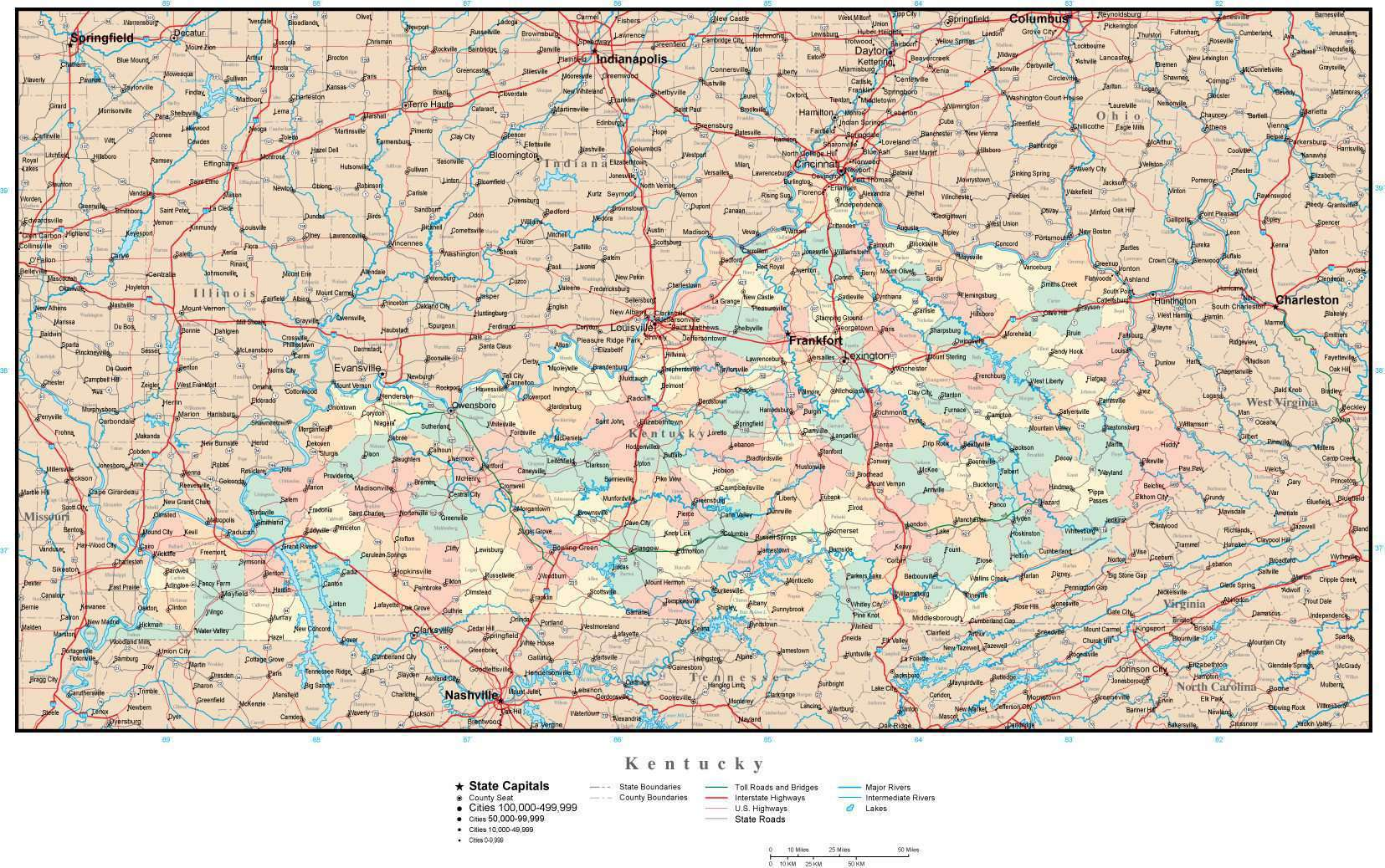 Kentucky Map with Counties, Cities, County Seats, Major Roads, Rivers on il lakes map, whitley county in map, nc lakes map, city of paducah city limit map, ohio river locks and dams map, wisconsin river map, black hills south dakota map, chain of lakes wisconsin map, cedar creek map, land between the lakes map, cumberland river map, forum map, buckhorn state park map, paducah street map, deep creek mountains utah map, north dakota lakes map, lbl map, kentucky map, deep creek state park map, florida wineries map,
