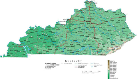 Kentucky Map  with Contour Background - Cut Out Style