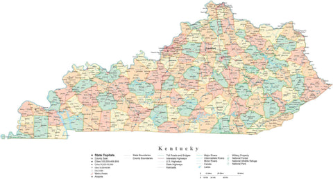 Detailed Kentucky Cut-Out Style Digital Map with Counties, Cities, Highways, and more