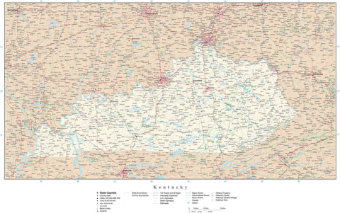 Poster Size Kentucky Map with County Boundaries, Cities, Highways, National Parks, and more