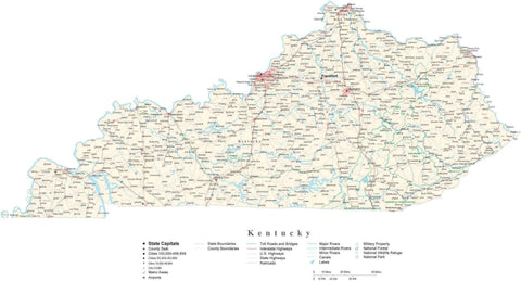 Detailed Kentucky Cut-Out Style Digital Map with County Boundaries, Cities, Highways, and more