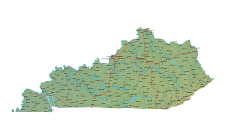 Digital Kentucky map in Fit Together style with Terrain KY-USA-852129
