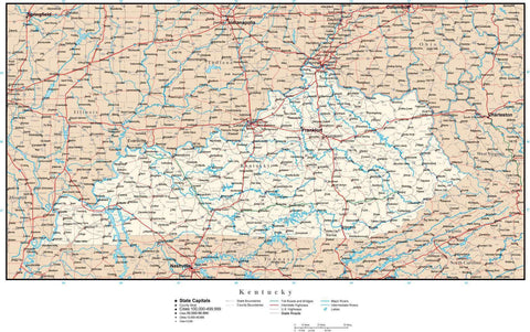 Kentucky Map with Capital, County Boundaries, Cities, Roads, and Water Features