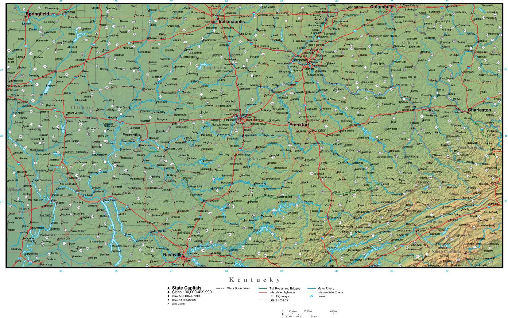 State Map Of Kentucky With Cities.Kentucky State Map Plus Terrain With Cities Roads Map Resources