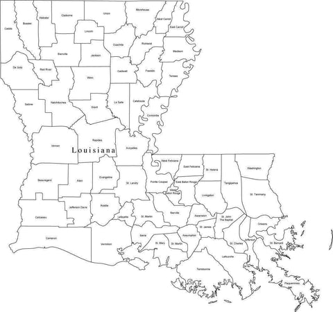 Black & White Louisiana Map with Counties