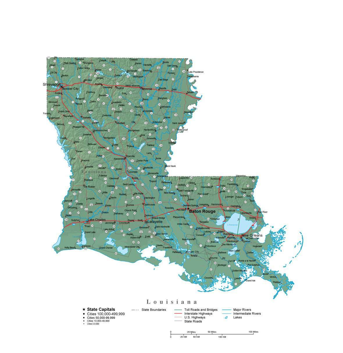 Louisiana Illustrator Vector Map With Cities Roads And Photoshop