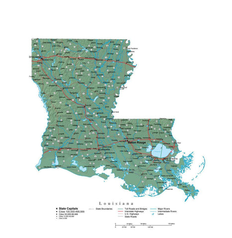 Digital Louisiana State Illustrator cut-out style vector with Terrain LA-USA-242022