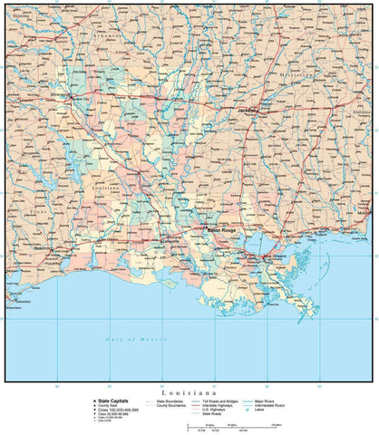 Louisiana Map with Counties, Cities, County Seats, Major Roads, Rivers and Lakes