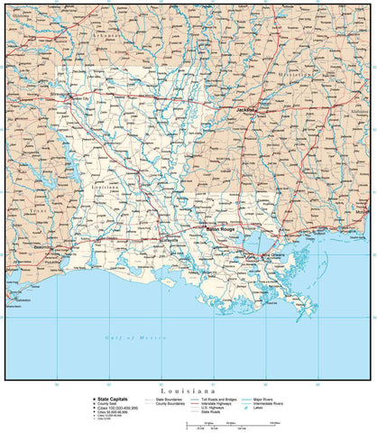 Louisiana Map with Capital, County Boundaries, Cities, Roads, and Water Features