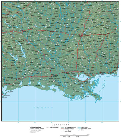 Digital Louisiana Terrain map in Adobe Illustrator vector format with Terrain LA-USA-942202