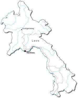 Laos Black & White Map with Capital, Major Cities, Roads, and Water Features