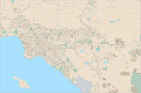Los Angeles CA Map - Super Poster Size - 12,000 square miles - with Arterial and Major Roads