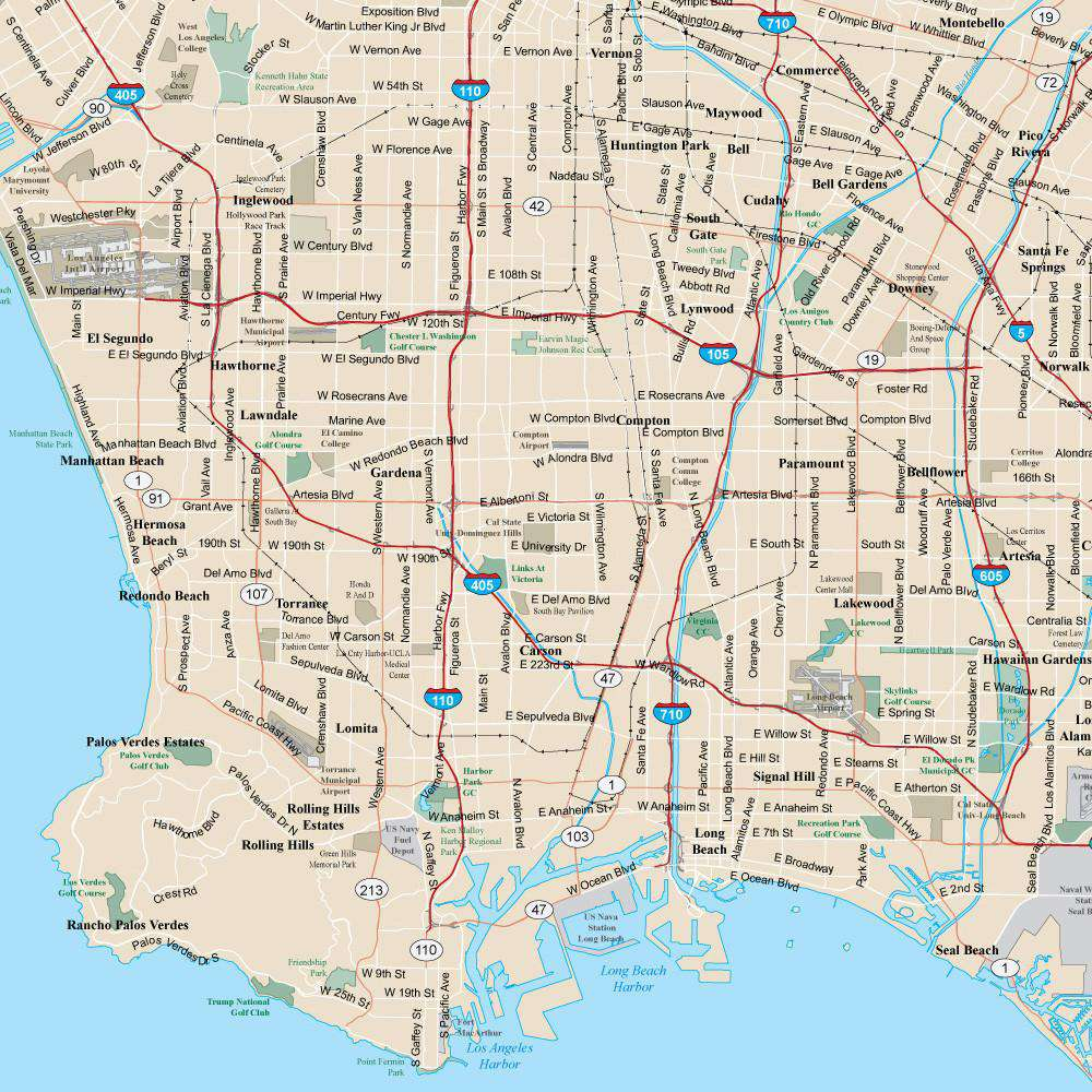 Poster design los angeles -  Los Angeles Ca Map Super Poster Size 12 000 Square Miles With Arterial And