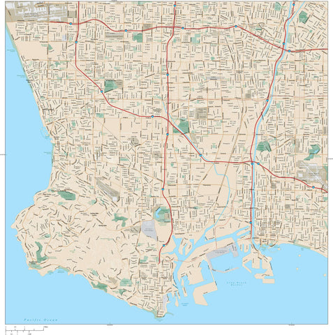 Los Angeles Vector Map - South Beach Cities LAX-XX-985314