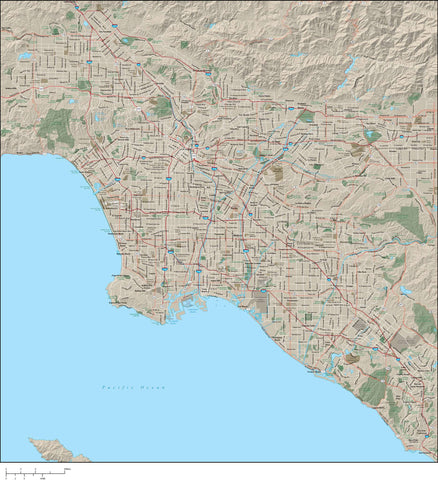 Adobe Illustrator Los Angeles Map Available in digital Adobe Illustrator vector format with terrain major roads and city map features LAX-XX-985356