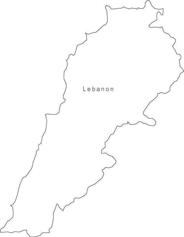 Digital Black & White Lebanon map in Adobe Illustrator EPS vector format