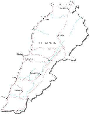 Lebanon Black & White Map with Capital, Major Cities, Roads, and Water Features