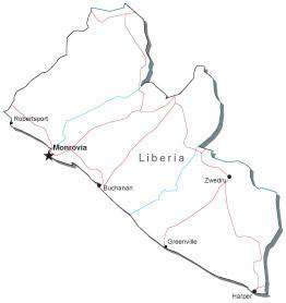 Liberia Black & White Map with Capital, Major Cities, Roads, and Water Features