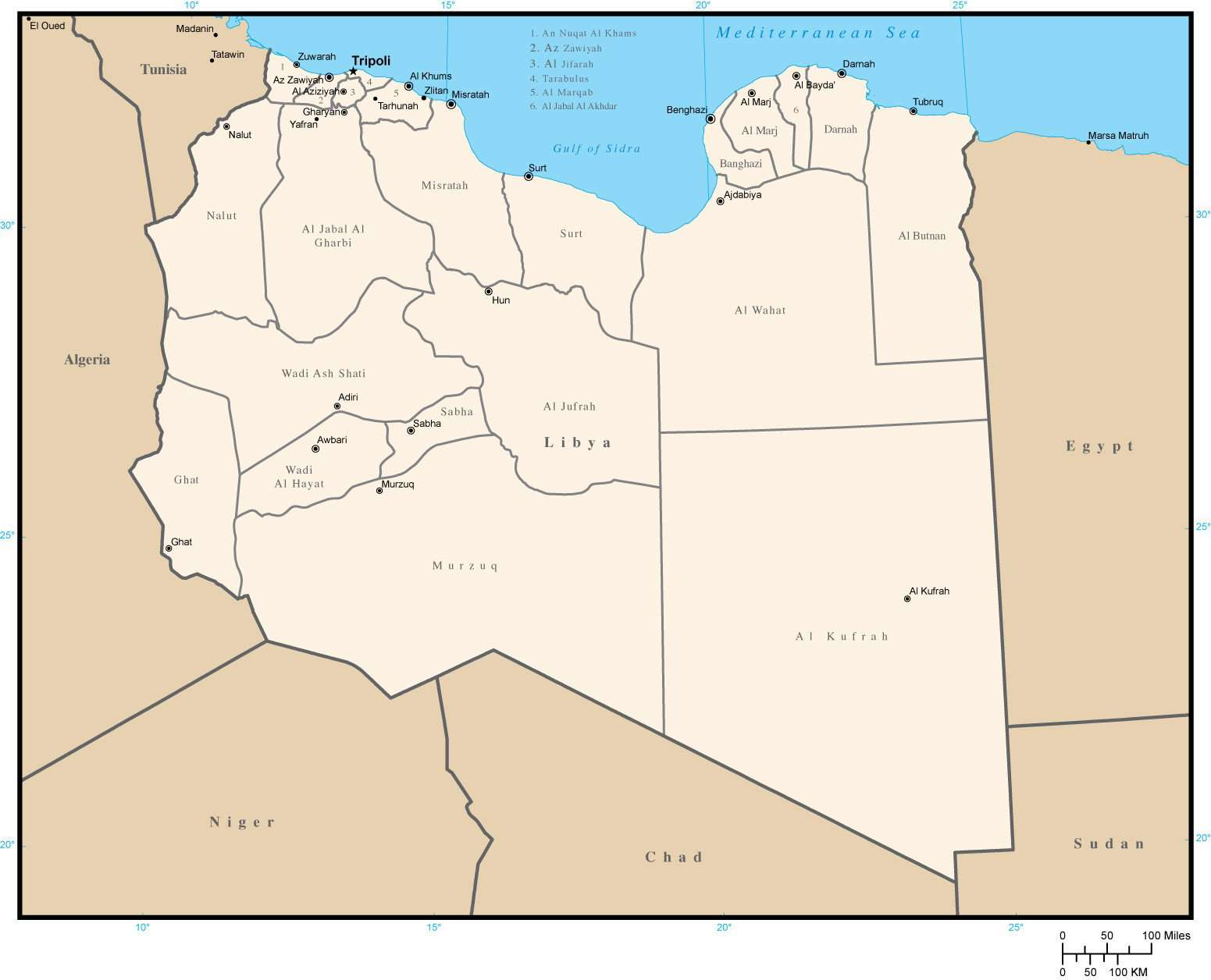 Libya Map with District Areas and Capitals