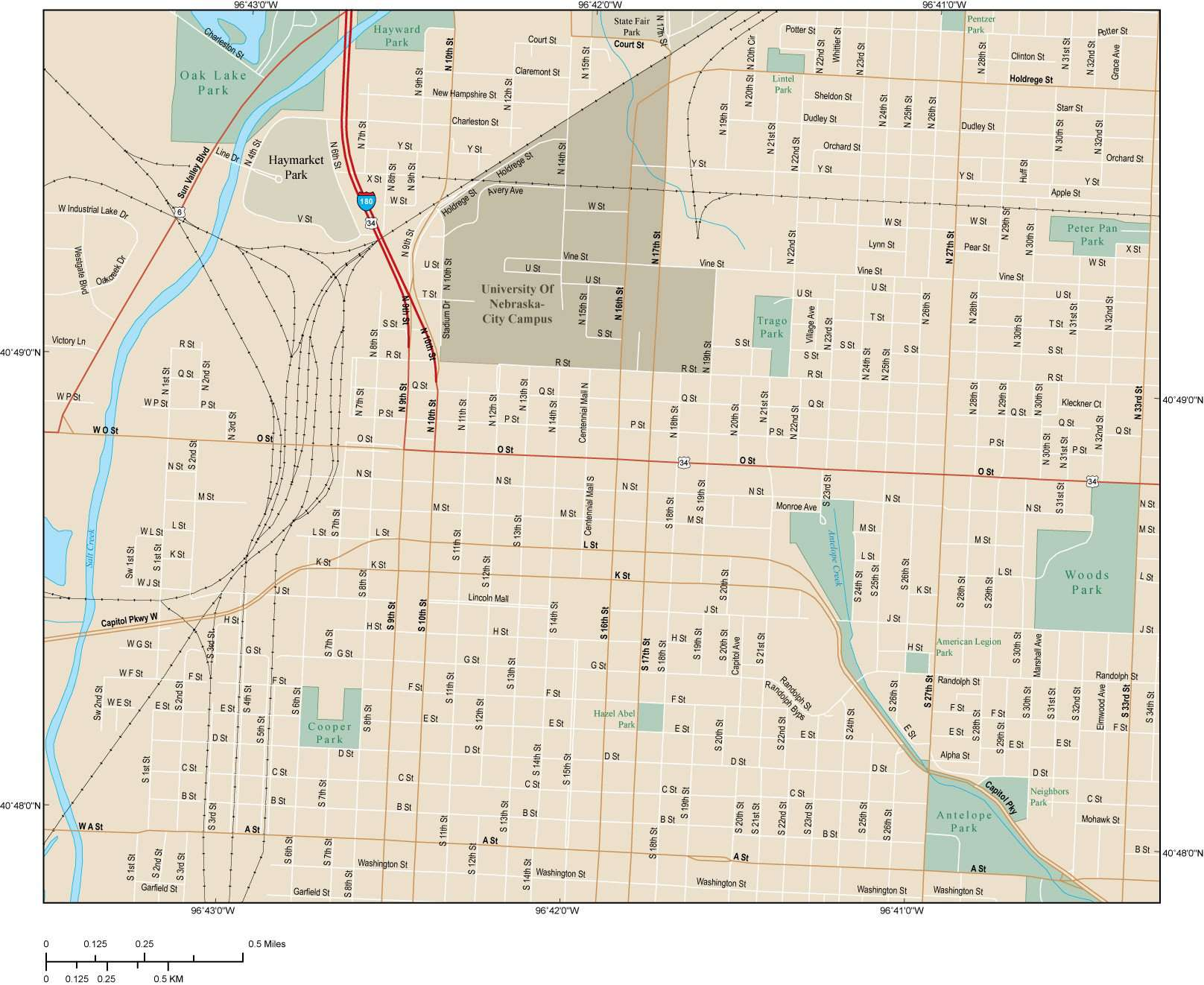 Lincoln NE Map - City Center - 6 square miles - with Local Streets