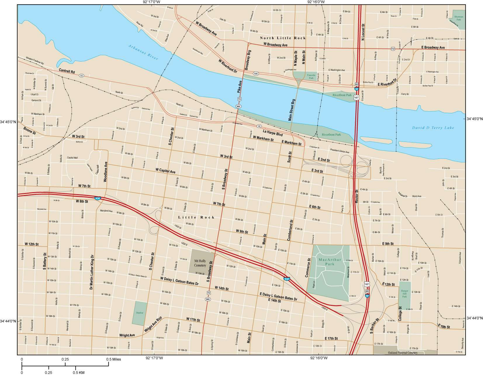 Little Rock Map with Local Streets in Adobe Illustrator vector ...