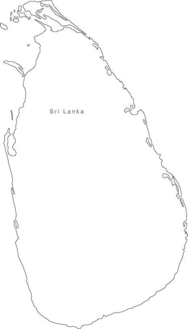 Digital Black & White Sri Lanka map in Adobe Illustrator EPS vector format