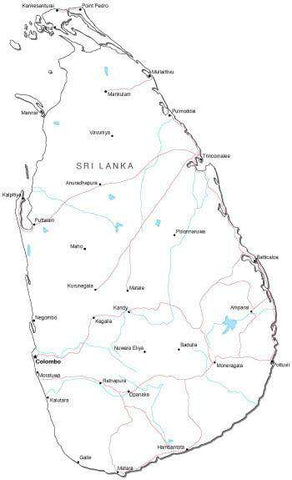 Sri Lanka Black & White Map with Capital, Major Cities, Roads, and Water Features