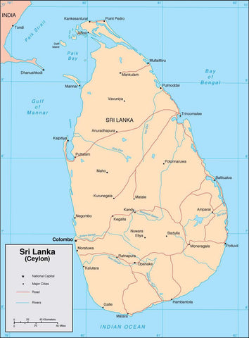 Digital Sri Lanka map in Adobe Illustrator vector format