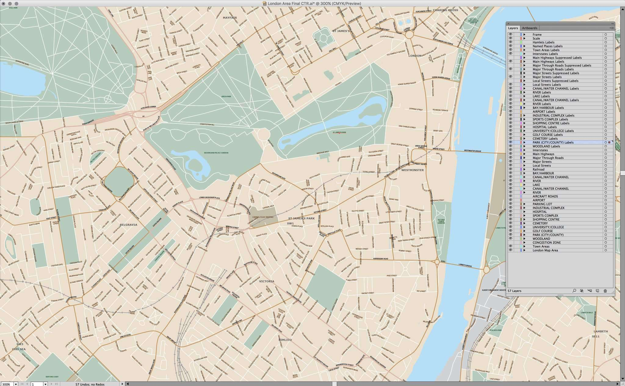London England Local Street Map In Adobe Illustrator Vector Format