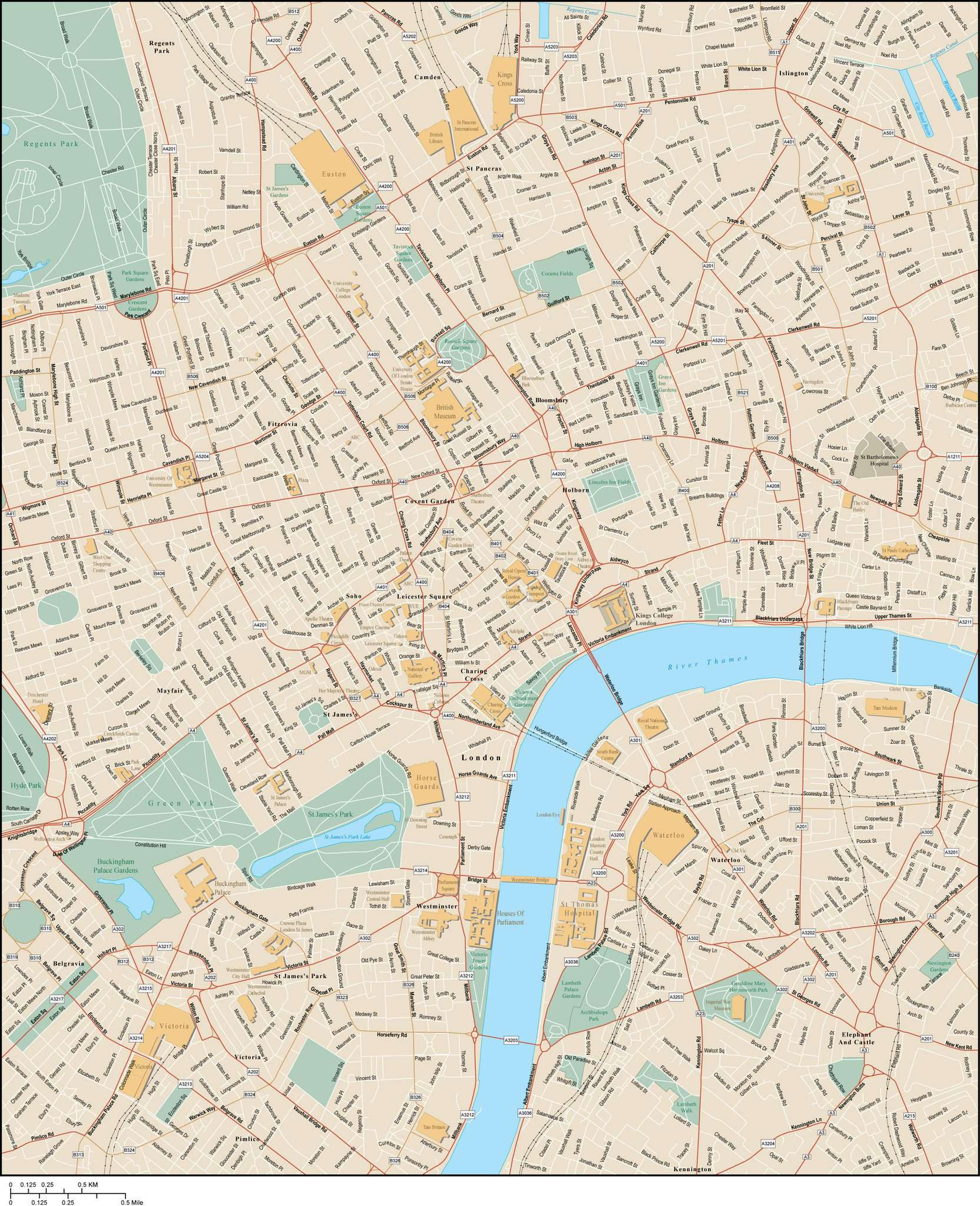 London England Map City Center With All Local Streets Map Resources