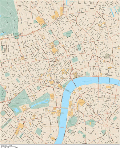 London  England Map - Center - 20 square miles -  with All Local Streets