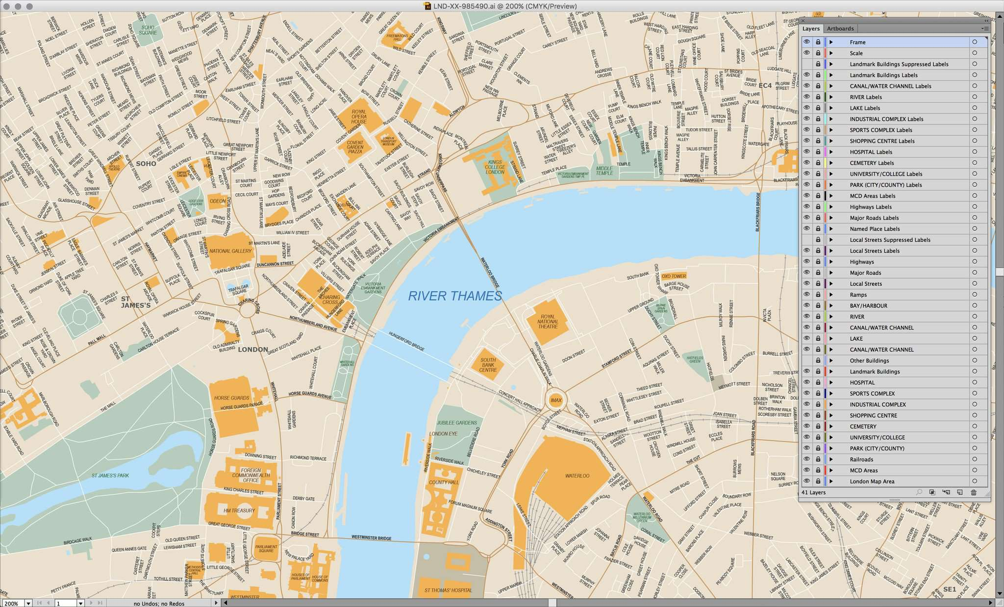 London Map Street.London Center Map 96 Square Miles Poster Size With All Local Streets