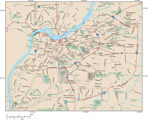 Louisville Map Adobe Illustrator vector format LOU-XX-984875