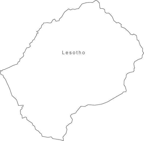 Digital Black & White Lesotho map in Adobe Illustrator EPS vector format