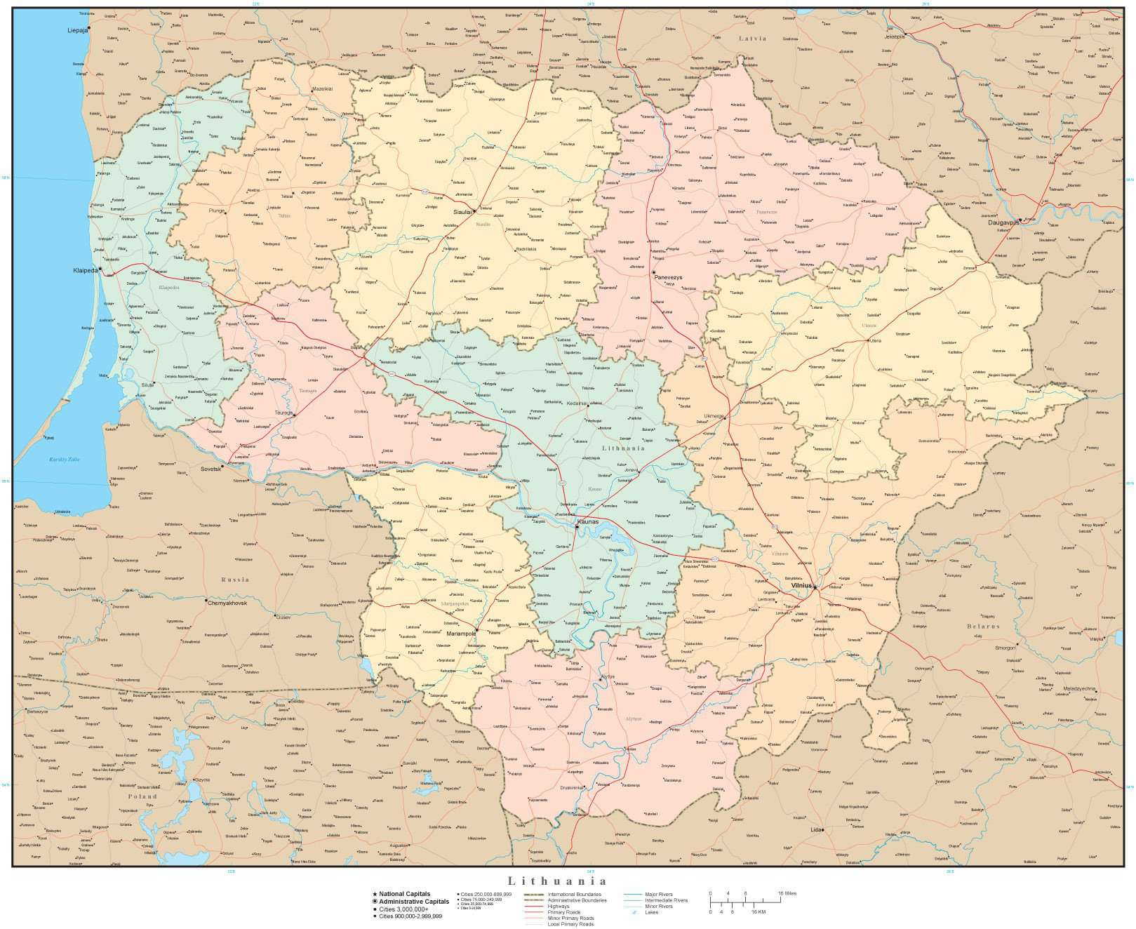 Lithuania map in Adobe Illustrator vector format – Map Resources