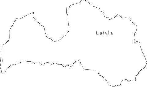 Digital Black & White Latvia map in Adobe Illustrator EPS vector format