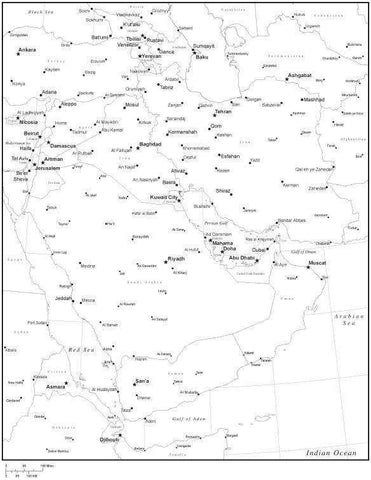 Black & White Middle East Map with Countries, Capitals and Major Cities - M-EAST-533866
