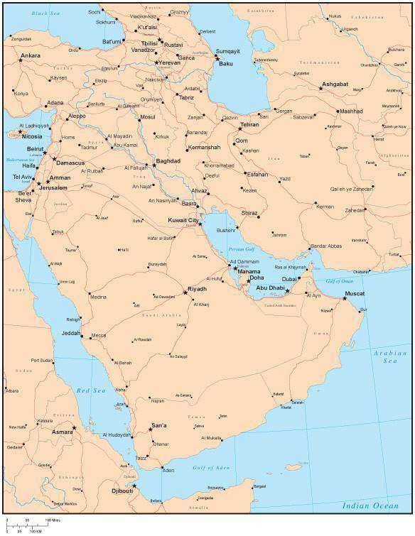 Single Color Middle East Map with Countries, Major Cities – Map ...