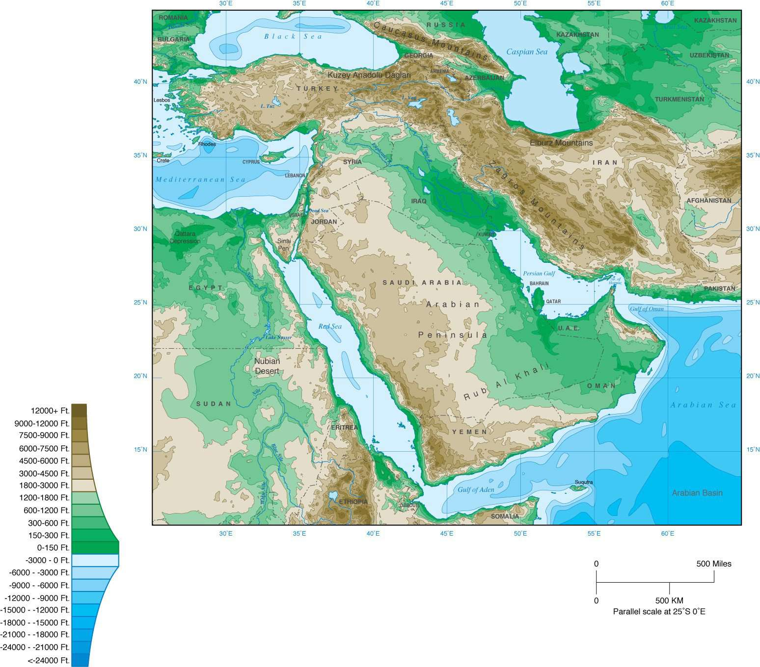 Middle East Map with Contours