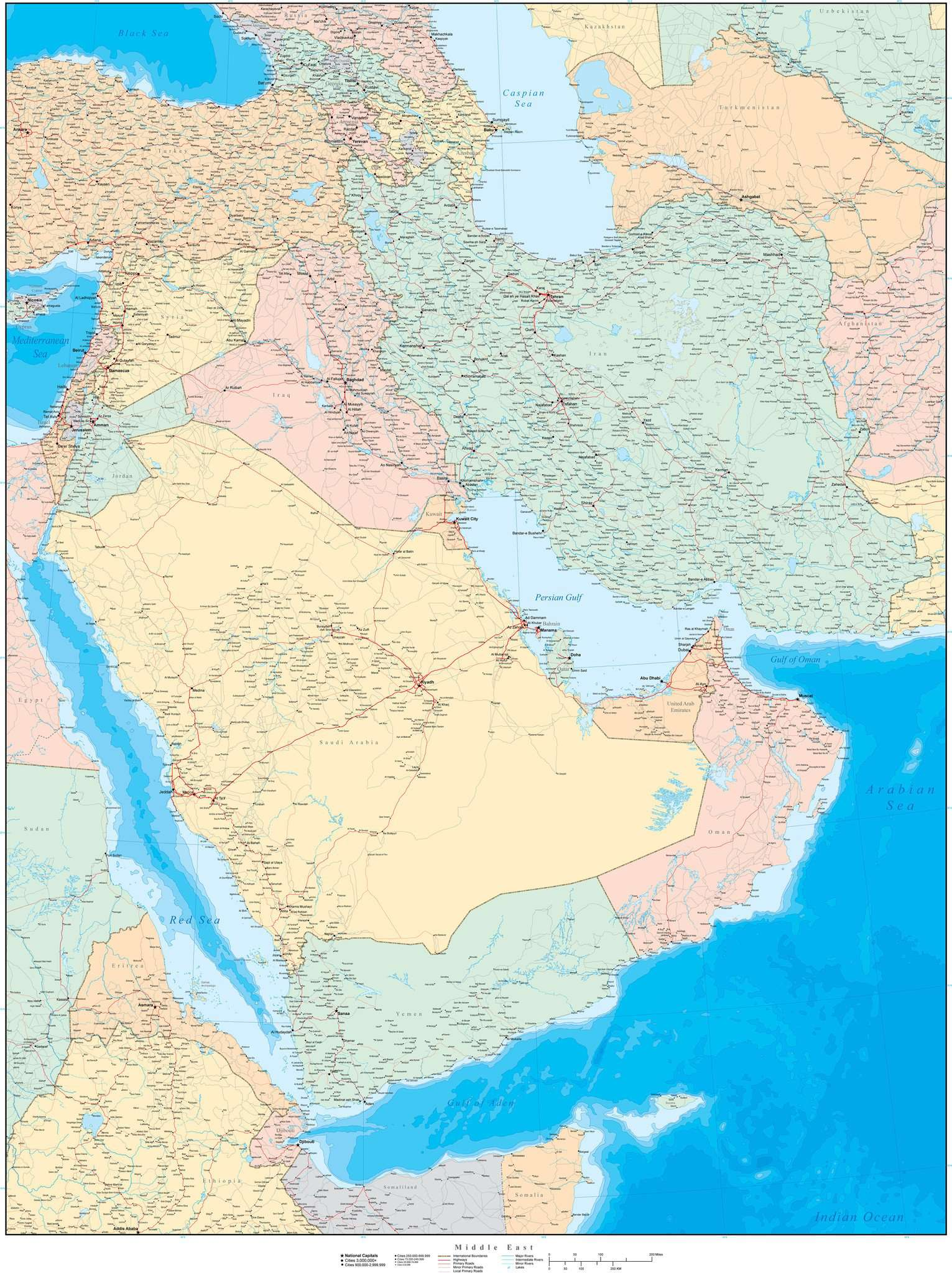 Poster Size Middle East Map with Contours
