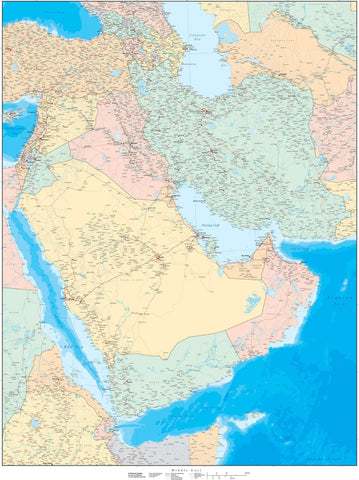 Digital Poster Size Middle East Contour map in Adobe Illustrator vector format.