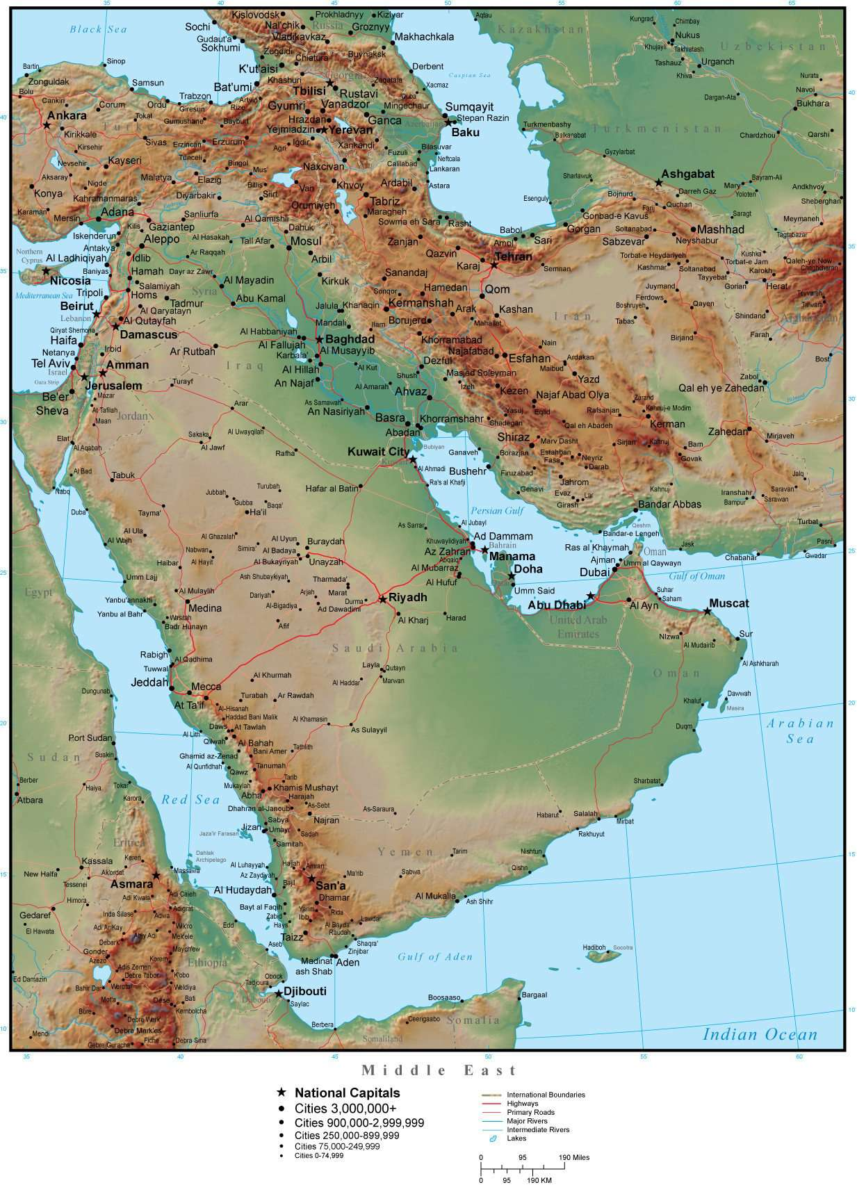 Middle East Map Plus Terrain with Countries, Capitals, Cities, Roads, and  Water Features